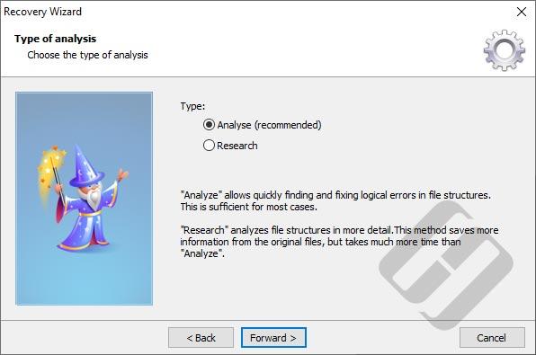 Hetman File Repair: Тип анализу