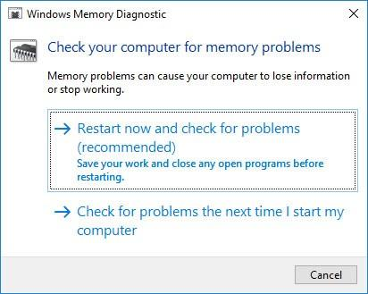 INCONSISTENT_IRP BSoD 0x0000002A: Start Windows Memory Diagnostic with run tool