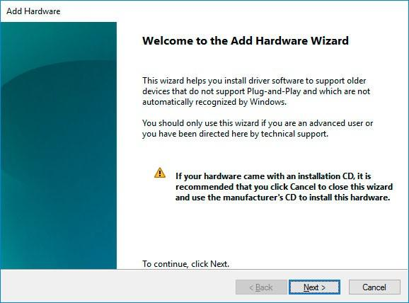 Install the device with the help of Add Hardware Wizard