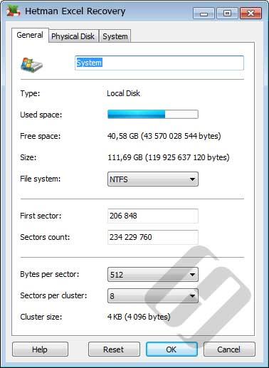 Hetman Excel Recovery: Disk Properties