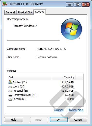 Hetman Excel Recovery: System Properties