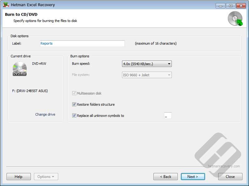 Hetman Excel Recovery: DVD Options