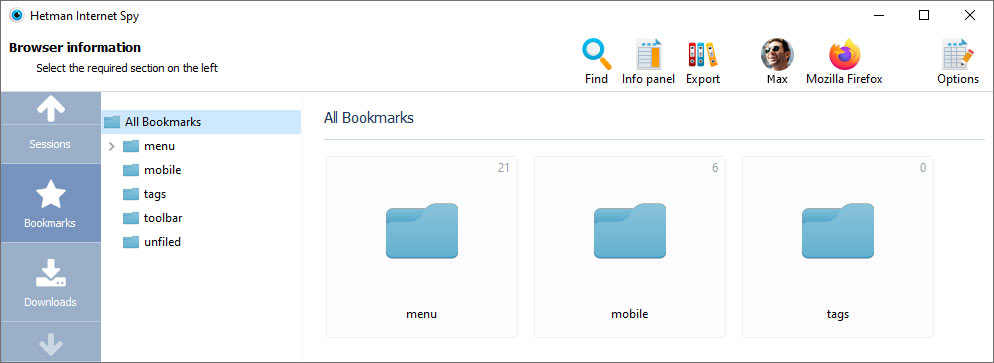 Shows created bookmarks and downloads