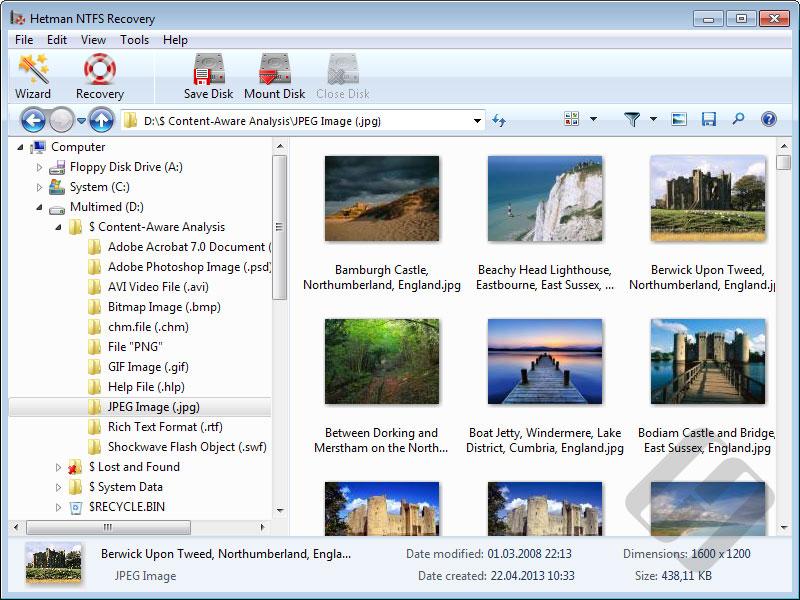 Hetman NTFS Recovery: Content-Aware Analysis