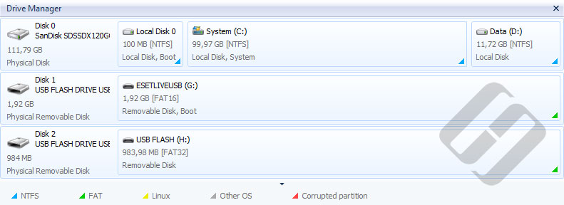 Hetman NTFS Recovery: Disk Manager