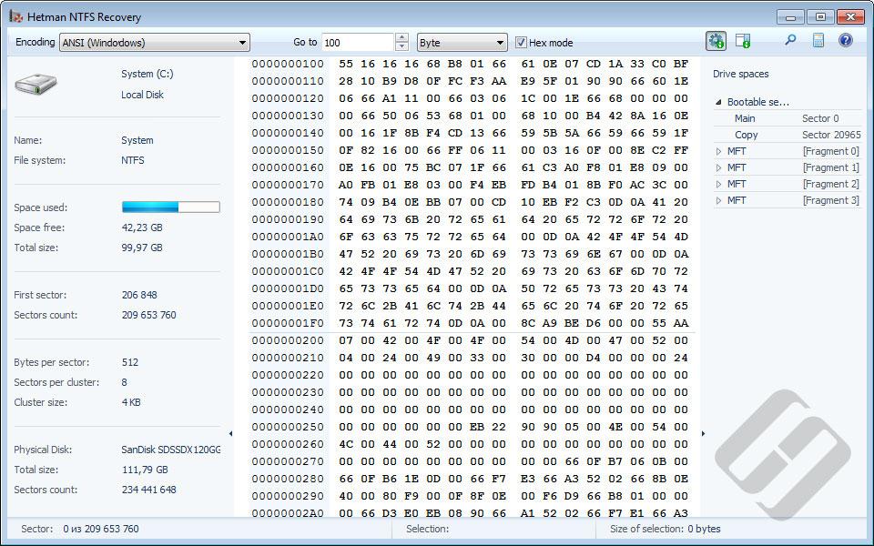 Hetman NTFS Recovery: HEX Editor