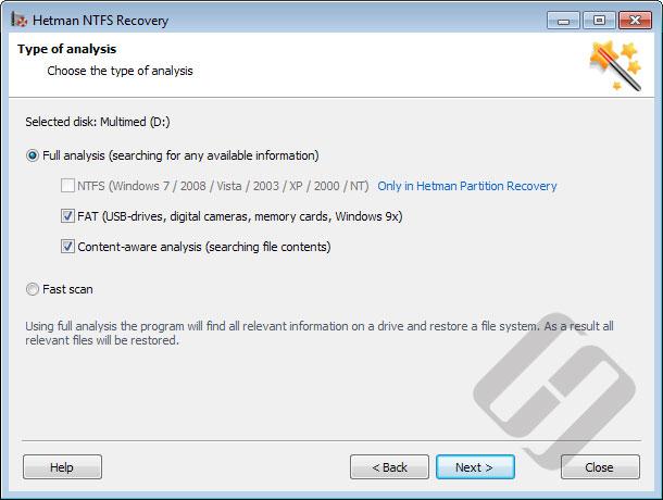 Hetman NTFS Recovery: Scan Methods