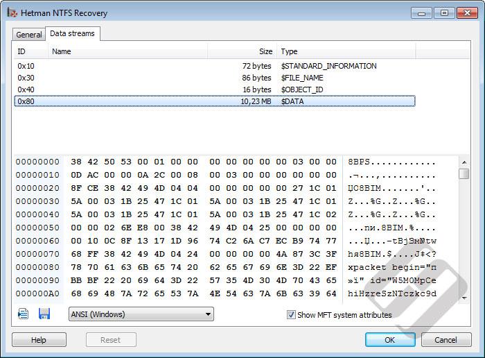 Hetman NTFS Recovery: Alternate Data Streams