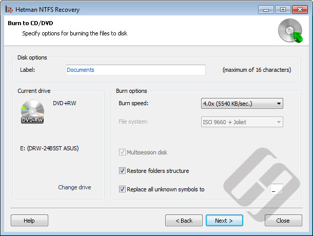 Hetman NTFS Recovery: Burning Options