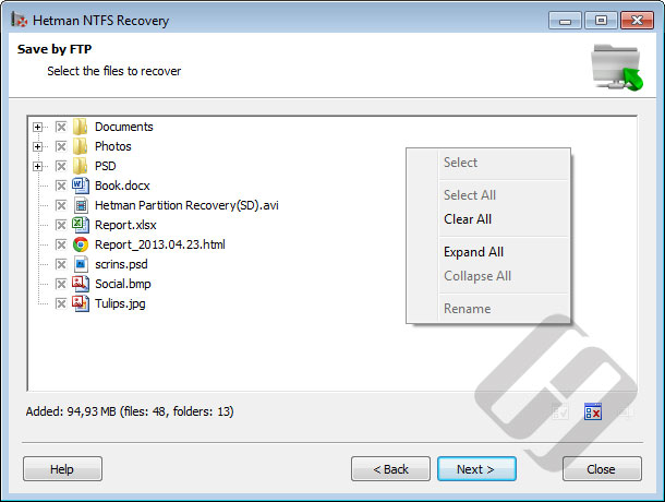 Hetman NTFS Recovery: Selecting Files for Upload
