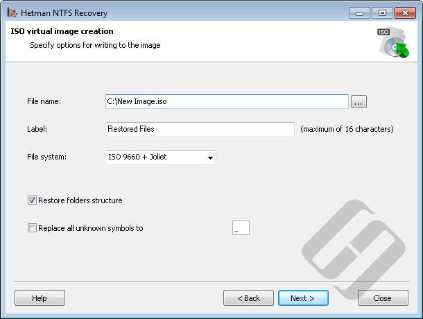 Hetman NTFS Recovery: ISO Options