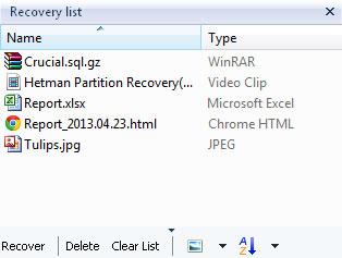 Hetman NTFS Recovery: Files List
