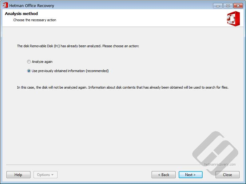 Hetman Office Recovery: Reanalysing Disk