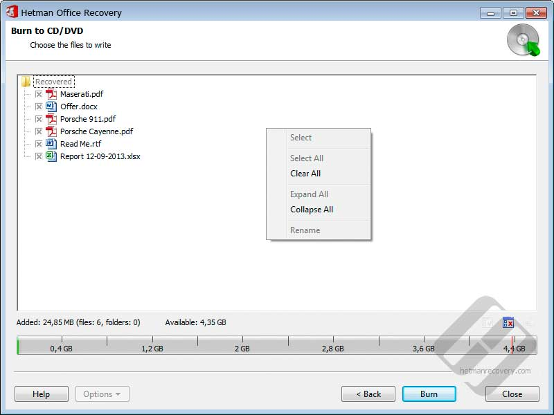 Hetman Office Recovery: Selecting Files for Disk Burning