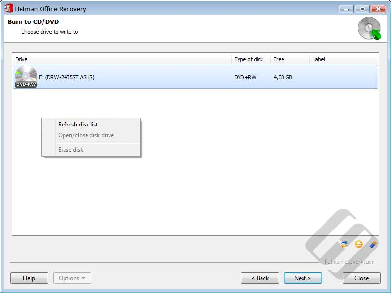 Hetman Office Recovery: Choosing Drive for Disk Burning