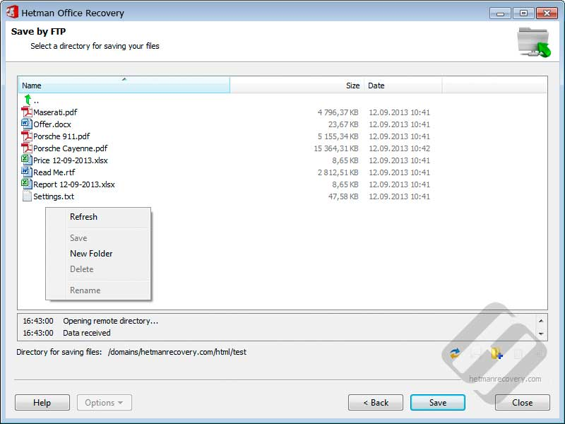 Hetman Office Recovery: Choosing Folder for File Upload