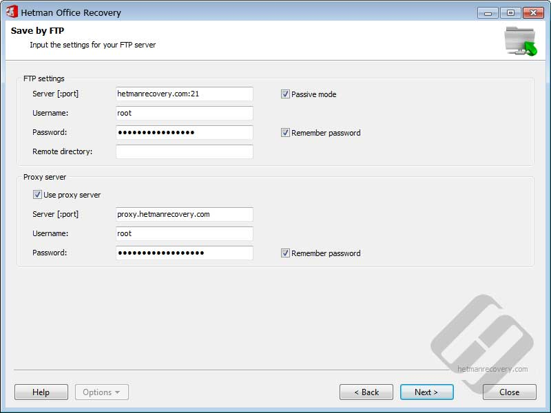 Hetman Office Recovery: FTP Server Authorization