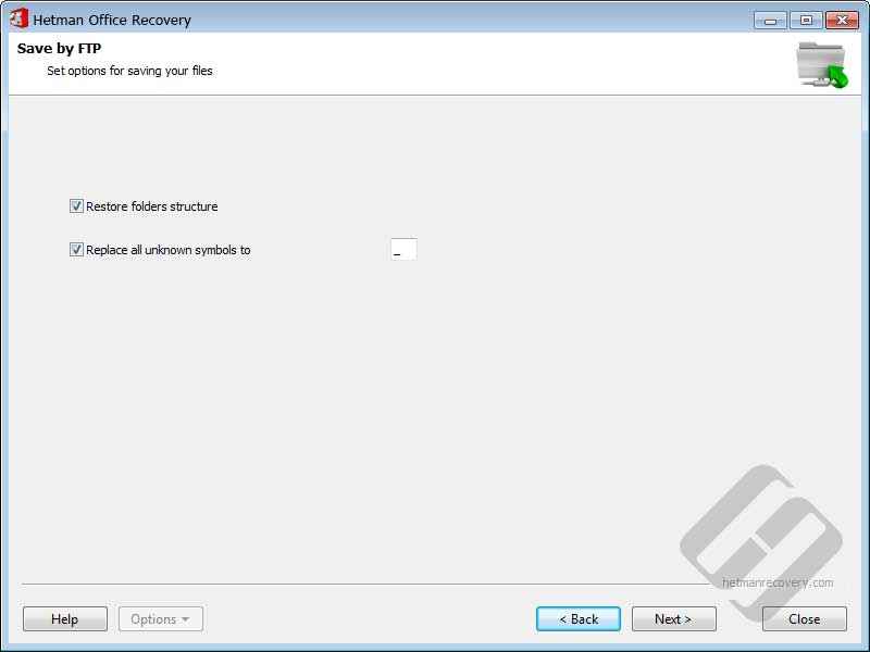 Hetman Office Recovery: FTP Options