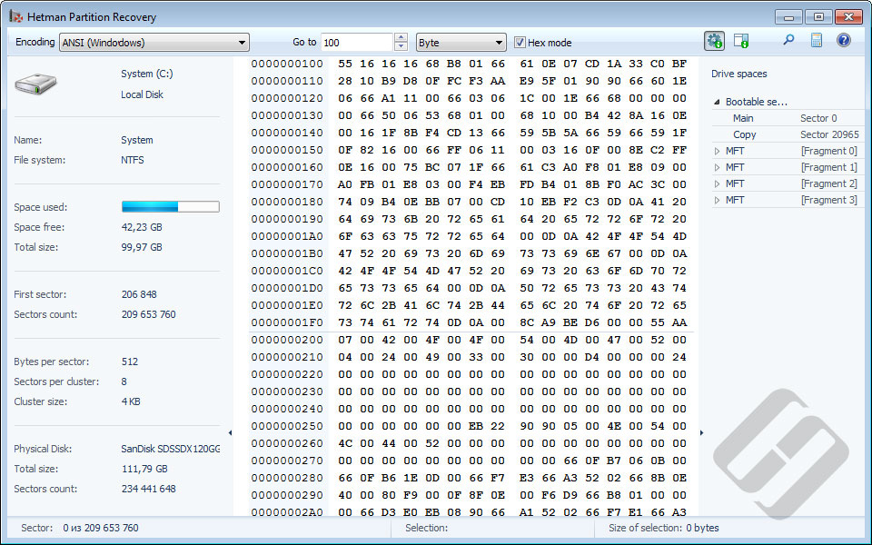 Hetman Partition Recovery: HEX Editor