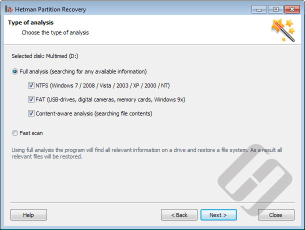 Hetman Partition Recovery: Scan Types