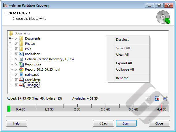 Hetman Partition Recovery: Burning Files to CD/DVD