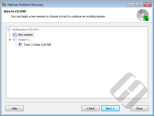 Hetman Partition Recovery: Burning CD/DVD with Multisession