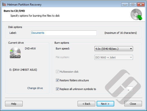 Hetman Partition Recovery: CD/DVD-Rom Options