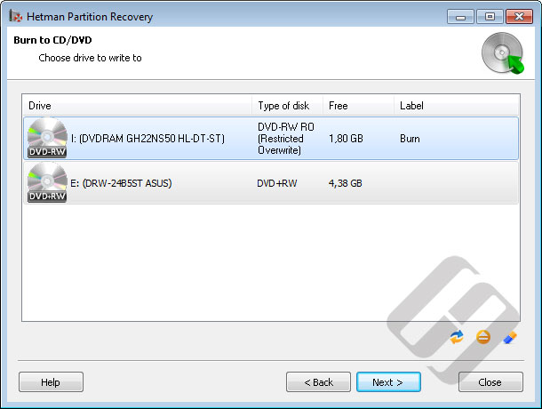 Hetman Partition Recovery: Choosing CD/DVD-Rom for Burning