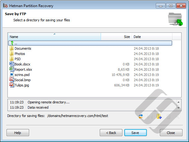 Hetman Partition Recovery: Saving Files to a FTP Server