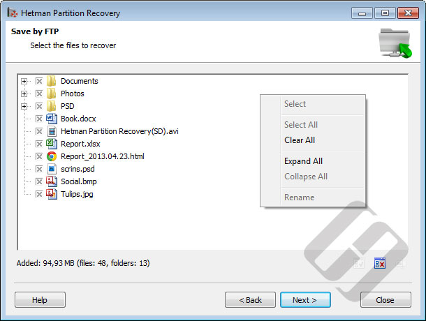 Hetman Partition Recovery: Selecting Files for Uploading