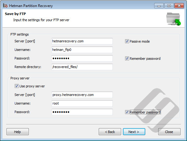 Hetman Partition Recovery: FTP Server Options