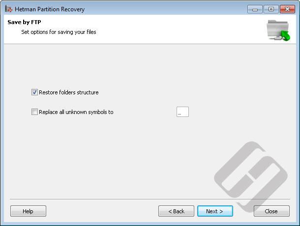 Hetman Partition Recovery: Options for FTP Saving