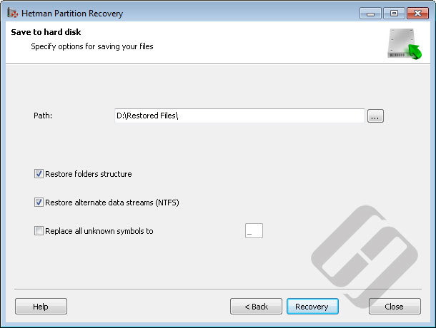 Hetman Partition Recovery: Saving Files to HDD