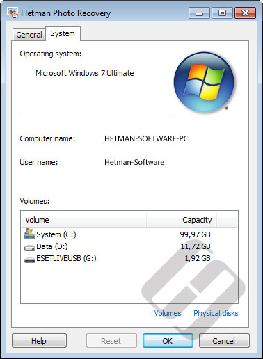 Hetman Photo Recovery: System Properties