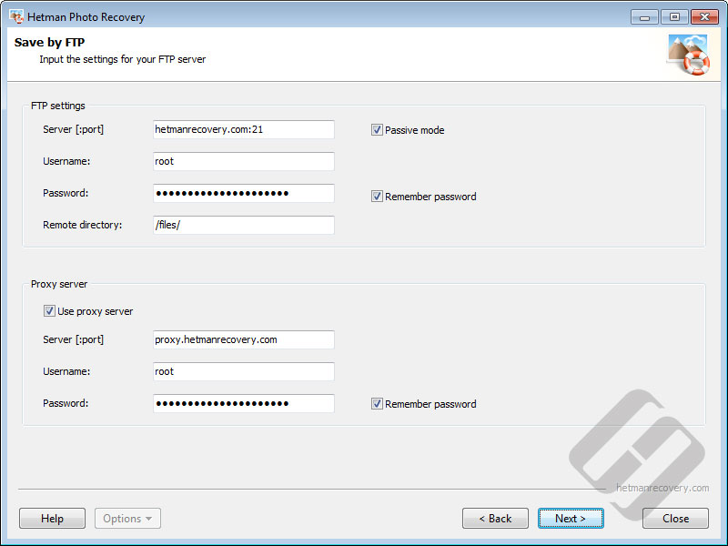 Hetman Photo Recovery: FTP Server Authorization