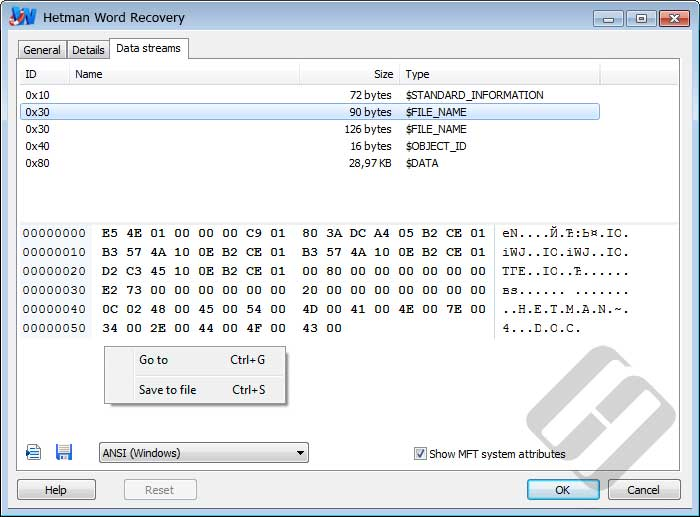Hetman Word Recovery: NTFS ADS