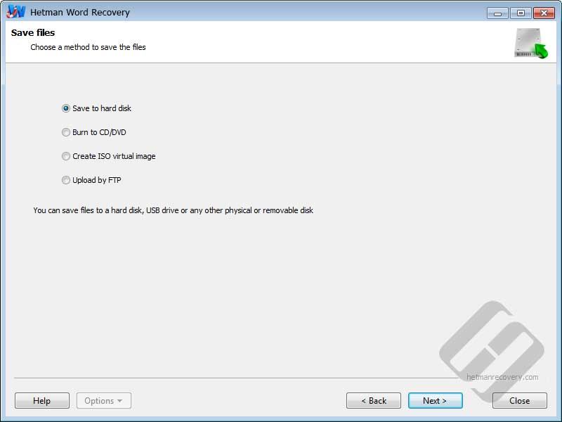 Hetman Word Recovery: Saving Files