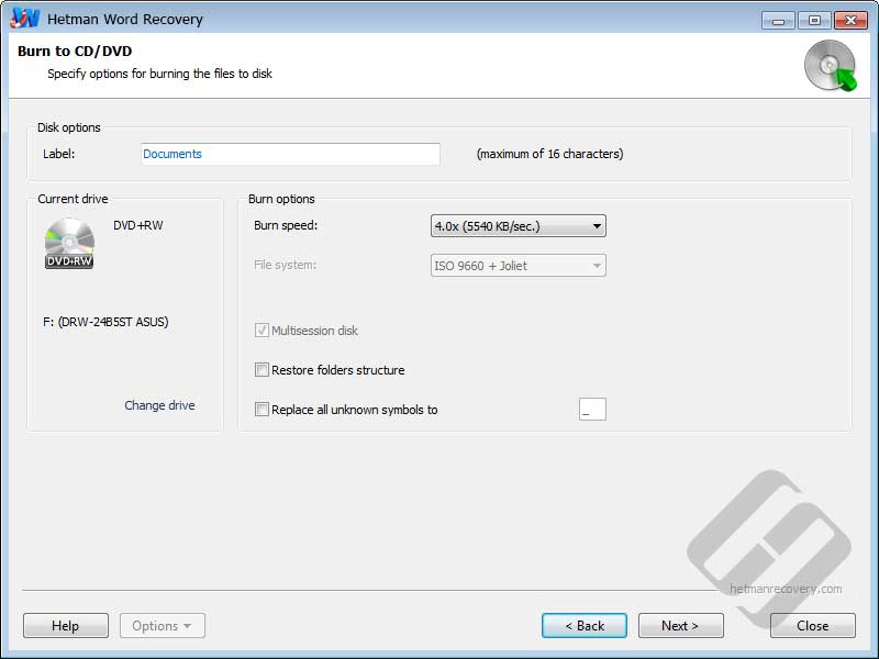 Hetman Word Recovery: CD/DVD Options