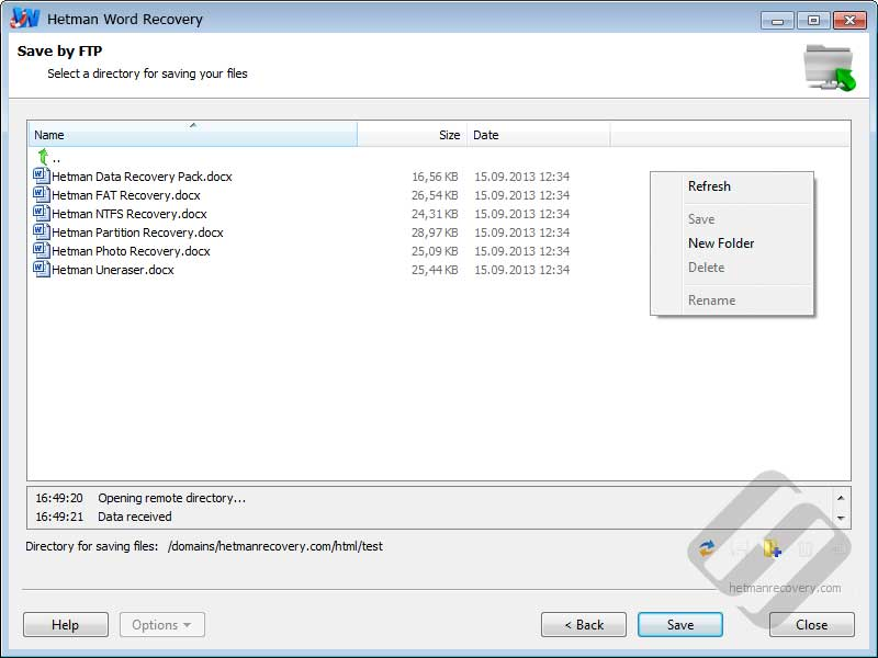 Hetman Word Recovery: Choosing Folder on FTP Server
