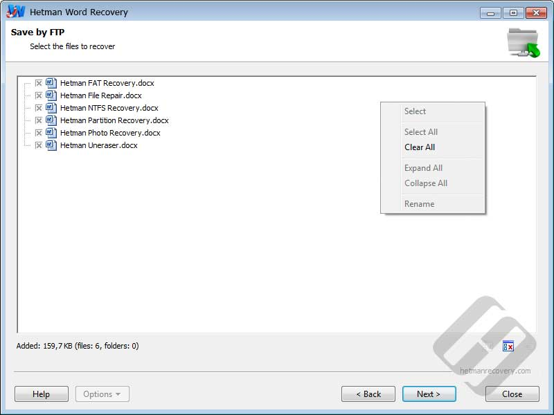 Hetman Word Recovery: Selecting Files for Upload