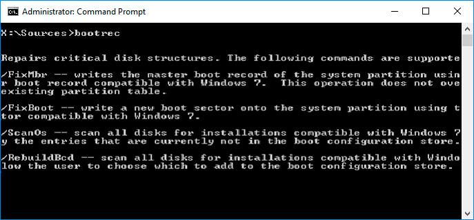 Command Prompt Windows 10: bootrec.exe