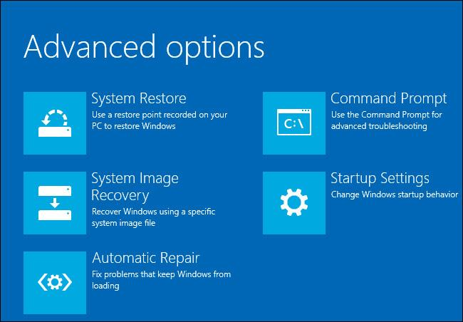 Advanced Options Windows 10