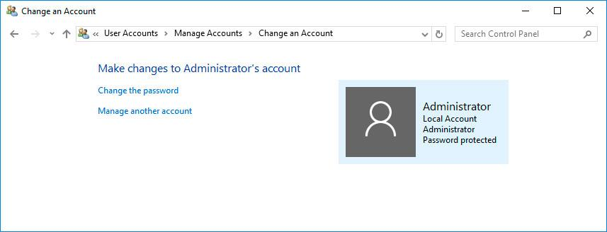 Change account Windows 10