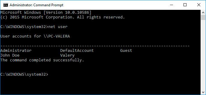 Command prompt Windows 10: net user