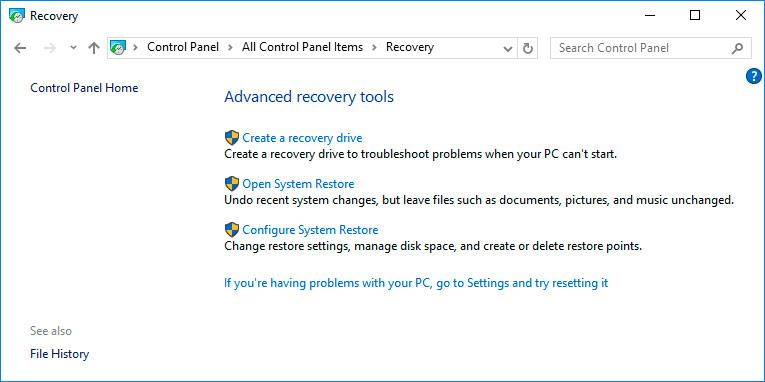 Configure System Restore Windows 10