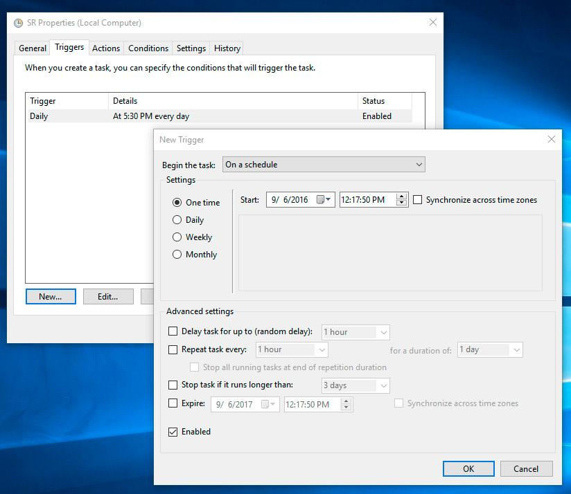 Parameters time recovery point creation Windows 10