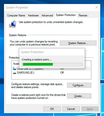 System Restore Point in Windows 10