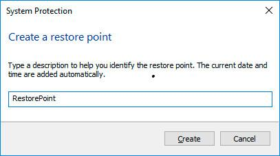 Create a restore point Windows 10